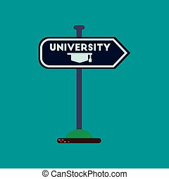 flat icon on background University sign