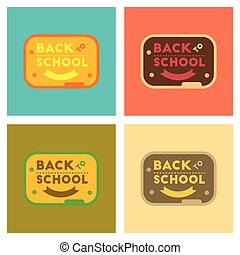 assembly flat icons Back to school board