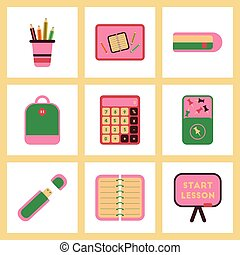 assembly flat icons office pins notebook calculator board bag usb pencil table