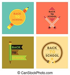 assembly flat icons Back to school pencil