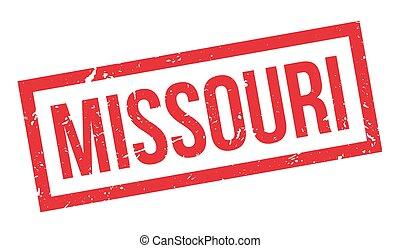 Missouri rubber stamp on white. Print, impress, overprint.