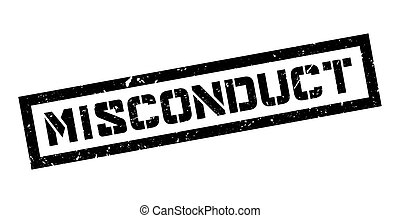 Misconduct rubber stamp on white. Print, impress, overprint.