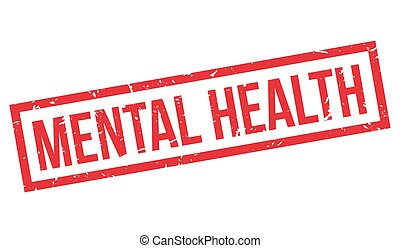 Mental Health rubber stamp on white. Print, impress,...