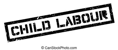 Child Labour rubber stamp on white. Print, impress,...