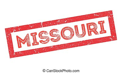 Missouri rubber stamp on white. Print, impress, overprint.