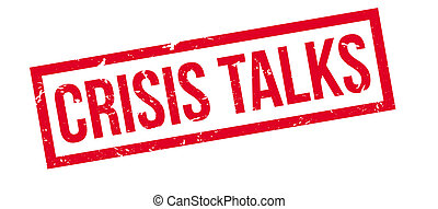 Crisis Talks rubber stamp on white. Print, impress,...