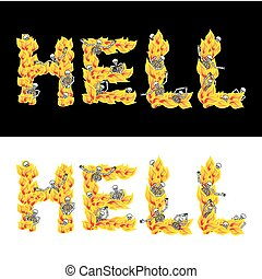 Hell text. fire letters. Skeletons in inferno. Sinners in...