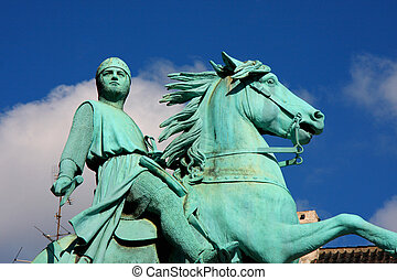 Hojbro Plads Square with the equestrian statue of Bishop...