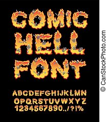 Comic Hell font. inferno ABC. Fire letters. Sinners in...