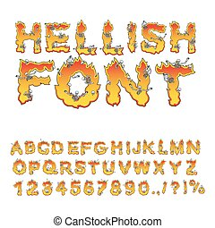 hellish font. inferno ABC. Fire letters. Sinners in...