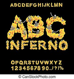 Inferno ABC. Hell font. Fire letters. Sinners in hellfire....