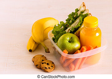 School lunch box with sandwich.
