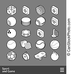 Isometric outline icons set - Isometric outline icons, 3D...