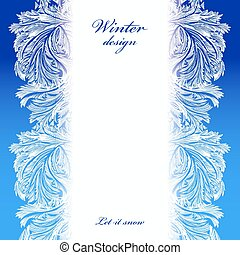 Winter holiday background - Border frozen glass decor....