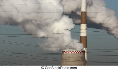 Stacks of factory in Russia - Smoke stacks of factory in...