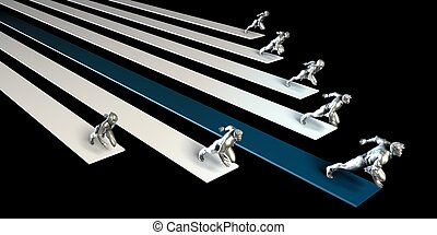 Business People Racing or Running in a Race
