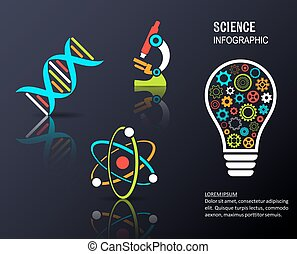 Black vector infographic science background