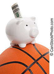 Piggy Bank and basketball, concept of sport fund