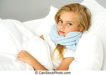 sick preschool girl lying in the bed