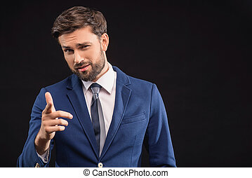 Confident rich man showing his authority - You. Successful...