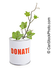 Donation Box and Green Plant, Concept of Recession