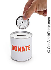 "Donation Box and clock, Concept of ""time to donate\"" or..."