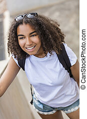 Mixed Race African American Girl Teenager With Back Pack -...
