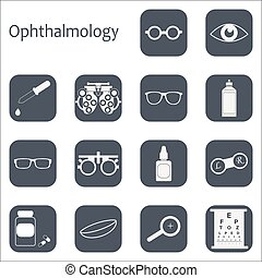 Vector flat optometry icon set with long shadow Optician,...