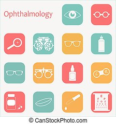 Vector flat optometry icon set with long shadow. Optician,...