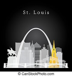 St. Louis skyline background - Vector silhouette graphic...