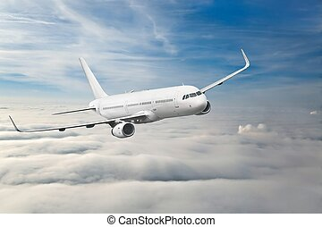 Passenger Aircraft Mid-air - Commercial aircraft flying in...