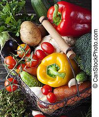 cesta, legumes, cópia, sortimento, espaço