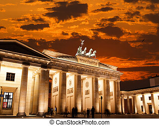 BRANDENBURG GATE at sunset in Berlin Germany