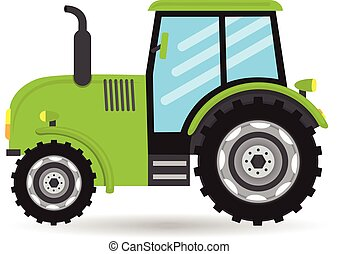 cartoon green flat vector Tractor vehicle farm icon on white background