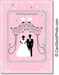 Invitation to the Huppah. Pink invitation to a Jewish wedding. Bride and groom