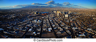 Las Vegas Aerial Panorama with city skyline, mountain and...
