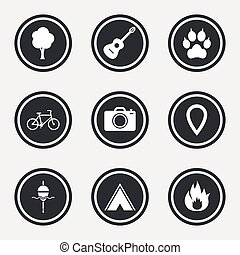 Tourism, camping icons. Fishing, fire and bike.