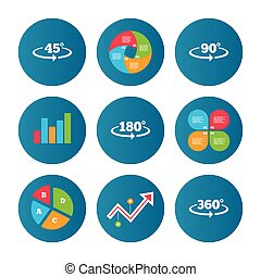 Angle degrees icons. Geometry math signs. - Business pie...