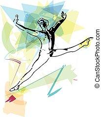 modernos, balé, dançarino, homem