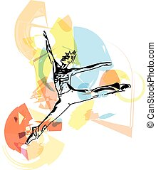 balé, dançarino, modernos, homem