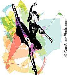 bailarina, abstratos, desenho, Dançar