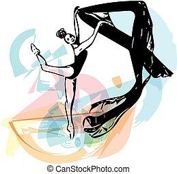 desenho, de, abstratos, bailarina, Dançar