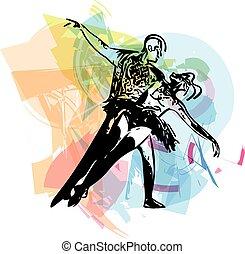 abstratos, par, Dançar, balé, Ilustração