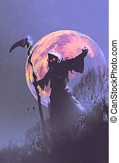 the death with scythe,illustration - the death with scythe...