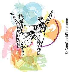 abstratos, par, balé, Ilustração, Dançar