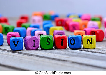 Vision word on table