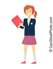 Schoolgirl with Book Isolated Character - Schoolgirl in blue...