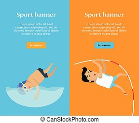 Swimming and Pole Vault Sports Banners - Swimming and pole...