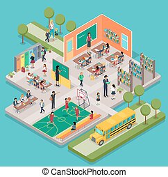 Isometric School Interior - Isometric school interior with...