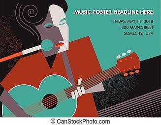 Unusual guitar player poster, ideal for music gig...